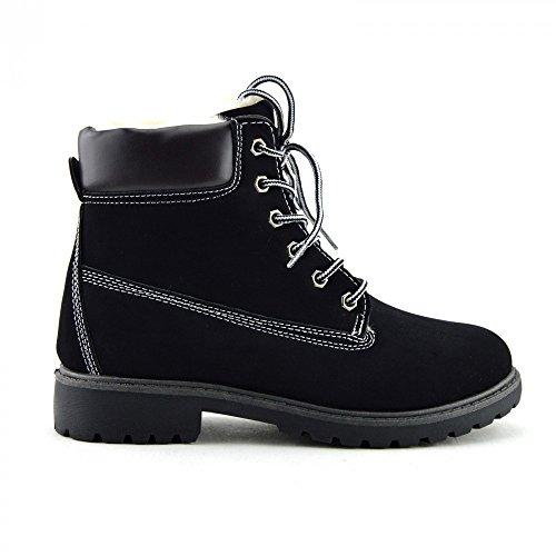 Da donna Con lacci caviglia piatta stivali casual combattere Walking Black with fur