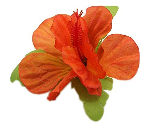 Hawai-Luau-Partido-Tela-Artificial-nico-Gran-Hibisco-Pinzas-Para-El-Pelo-Llama-naranja