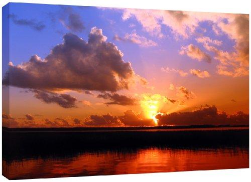 MOOL Hundebett, groß, 32 x 22, Lake Sunset Leinwand von Hand gespannt auf Holzrahmen mit Giclée-Druck wasserdicht, lackiert, fertig zum Aufhängen, Rot (Holzrahmen Hundebett)
