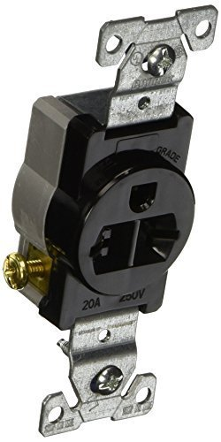 Cooper Wiring Devices 1876BK Simplex 20 Amp 250V Commercial Grade Single Receptacle, Black by Cooper Wiring Devices (Cooper Wiring Single)