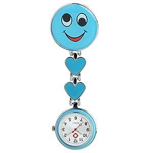 COLJOY Krankenschwester Uhr Pulsuhr Nurse Watch Kitteluhr Taschenuhr Trend Uhren Top Qualität Schwesternuhr Smiley mit Clip Krankenschwesteruhr Kitteluhr
