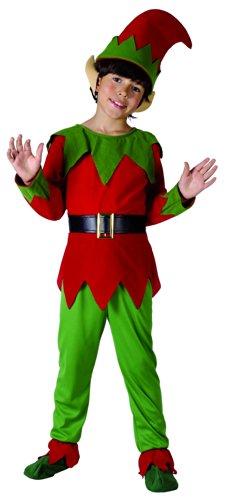 KULTFAKTOR GmbH Wichtel Kinderkostüm Weihnachtskostüm rot-grün 134/140 (10-12 Jahre) - Knöchel Akzent