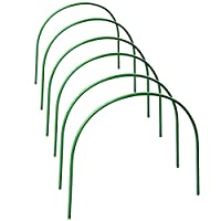 happyshop18 Greenhouse Hoops, Grow Tunnel 4ft Long 48 x 48cm Steel with Plastic Coated Support Garden Hoops for Greenhouse, 6 Pack