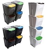Mülleimer Abfalleimer Mülltrennsystem 80L - 4x20L Behälter Sorti Box Müllsortierer