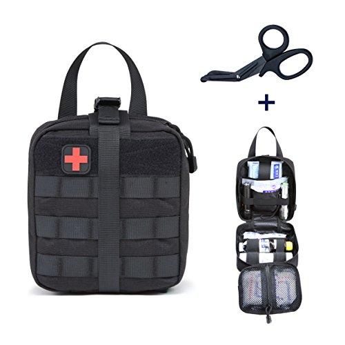 Grand Pochette EMT Médecine Tactique, Sac de Premiers Soins Molle Kit de Premier Secours pour Randonnée Camping Airsoft avec Un Ciseaux médical