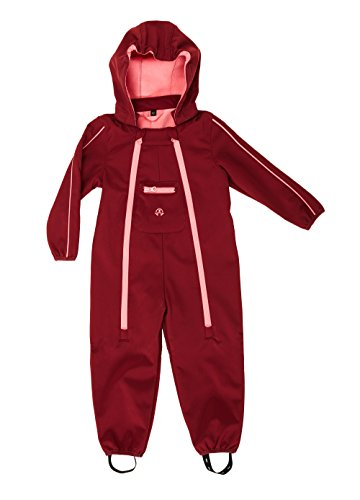 Unbekannt ELKA Baby Softshell Overall Softshellanzug in 2 Farben Größe 80 - 104 wasserdicht und wasserabweisend Wassersäule 3000 mm Atmungsaktivität 3000 g/m2/24h (104, Bordeaux/Rosa)