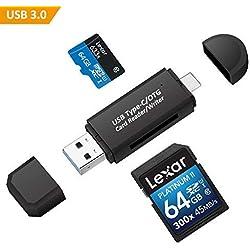 Philonext USB 3.0 Lecteur de carte mémoire USB Type C SD Micro SD OTG Adaptateur pour SDXC, SDHC, SD, MMC, RS-MMC, Mikro SDXC, Micro SD, Micro SD, Carte Micro SDHC