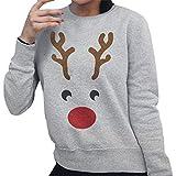Weihnachtshässlicher Pullover HUYURIFrauen lässig Lange Ärmel Netter Elchdruck weich Sweatshirt