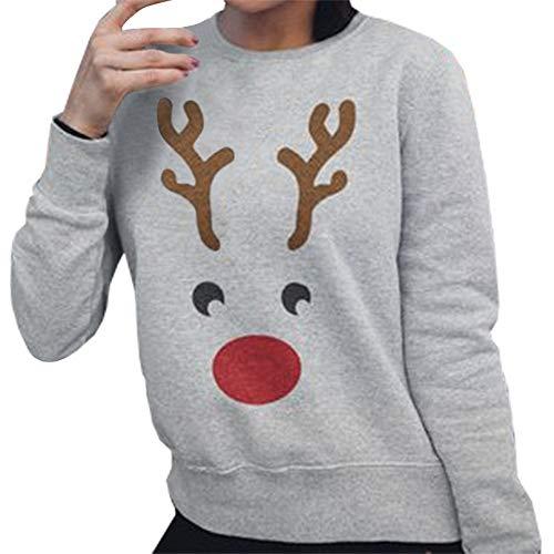 (Weihnachtshässlicher Pullover HUYURIFrauen lässig Lange Ärmel Netter Elchdruck weich Sweatshirt)