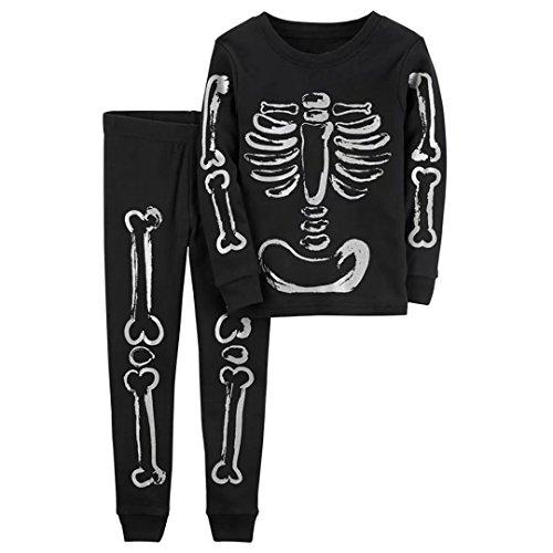 Halloween Jungs Kostüm 2 (Halloween Jungen Pyjamas Set Baumwolle Langarm Skelett Kostüm Outfits Größe 2)