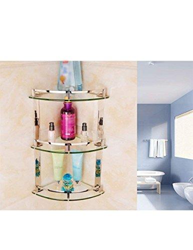 XQY Hochwertiges Küchen-Badezimmer-Regal, Edelstahl-dreieckiges Regal-Badezimmer-Glasregale Toiletten-Ecken-Zahnstange, die Qualität, Tuch-Zahnstange sicherstellen,24 * 44cm -