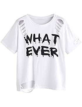 Winwintom mujer corta Camisa Casual manga agujeros letras impresas Tops T - shirt