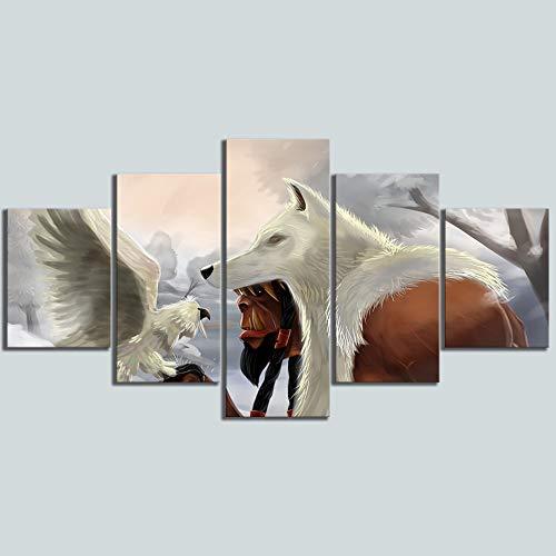 Mxsnow 5 Cuadro sobre Lienzo Marco De Madera Mural HD Pintura Videojuego Poster Lienzo Impreso Wolf...