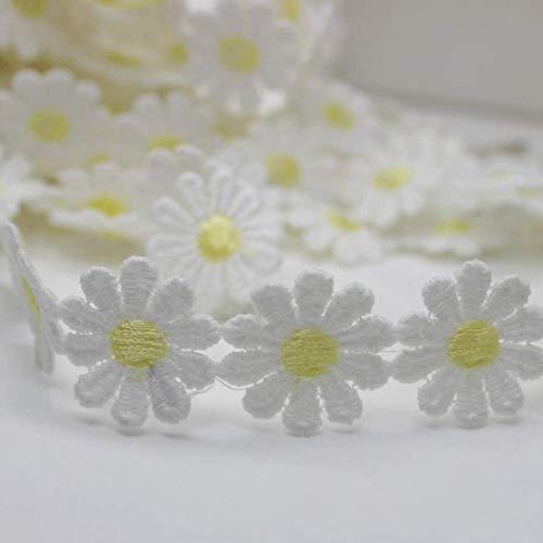 Premium-Qualität 1 Yard Bestickt Daisy Flower Lace Trim Applique Stirnband Nähen DIY Craft - hellgelbCarry Stone -