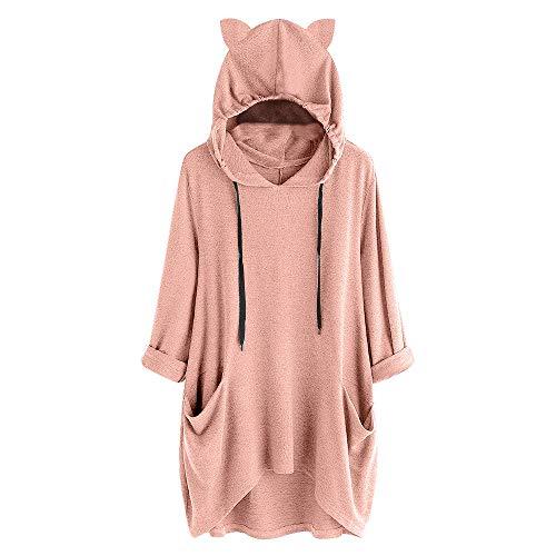 (VEMOW Damenmode Tasche Lose Kleid Damen Rundhalsausschnitt beiläufige Tägliche Lange Tops Kleid Plus Größe(Y3-a-Rosa, EU-42/CN-S))