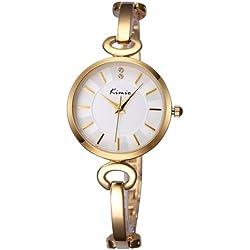 KIMIO 3791Fashionable Uhr Quarz Wrist Uhr Dress Uhr Chain Uhr mit Alloy Band & Alloy Case & Armband CLASP für Frauen (Golden Band + White Dial)