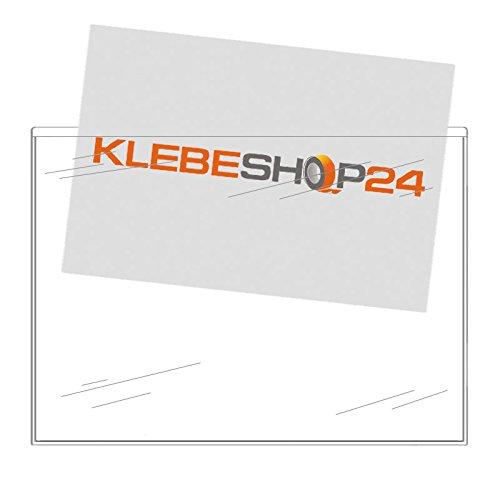 Selbstklebetaschen transparent | DIN lang, A4, A5 oder A6 | Breite Seite offen | 20 oder 100 Stück | Klarsichthüllen zum Kleben | Rechtecktaschen für Dokumente, Prospekte, Flyer, Fotos, Karten etc. / DIN A6 20 Stück