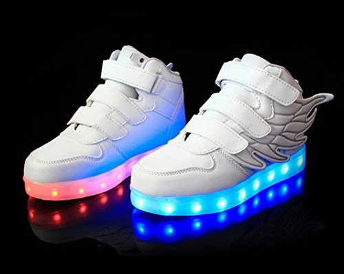 Ake Children LED Light Schuhe USB Charging Flashing Sport Wing Shoes Luminous Sneakers Skidproof White