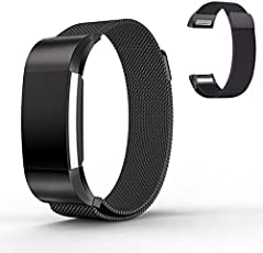 Caldipree Segolike for Fitbit Charge 2 Wrist Strap, Stainless Steel Metal Mesh Writband Watchband with Unique Magnet Clasp