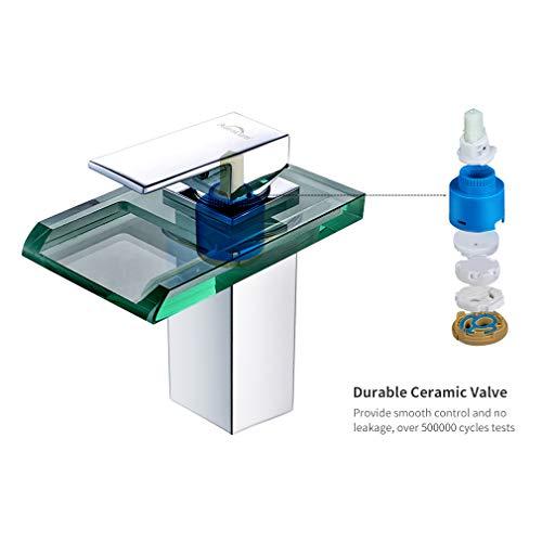 Auralum Led Waschtischarmatur Wasserfall Glas Wasserhahn mit RGB Farbewechsel Bad Badezimmer Waschbecken WC, Chrom - 8