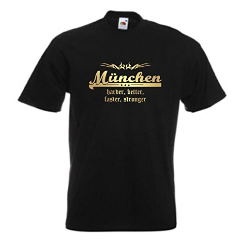 T-Shirt München harder better faster stronger Städteshirt mit goldenem Brustdruck edel bedrucktes Fanshirt mit Tribal große Größen S-5XL (SFU10-31a) Mehrfarbig