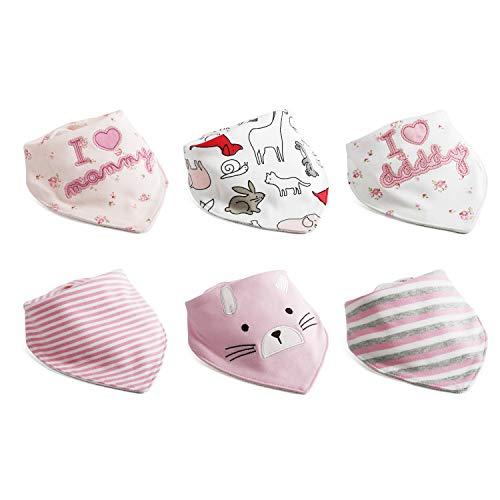 6pcs Baby Dreieckstuch Lätzchen Mädchen Spucktuch Baumwolle Halstücher mit süßen Motiven in unterschiedlichen Farben, Doppellagig Saugfähig ...
