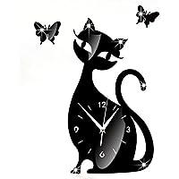 Vovotrade Wall Sticker orologio Orologio da parete Bella immagine Cute Cat Black Mirror Design moderno Home Decor