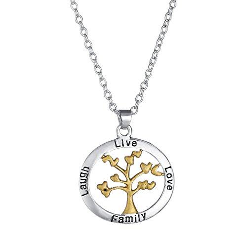 Kinder Halskette Lieben-familie 4 (Veuer Mädchen Schmuck für Damen Hals-kette Baum des Lebens in Gold Leben Lieben Familie Geschenk zu Weihnachten für Frauen , Freundin , Ehe-Frau)