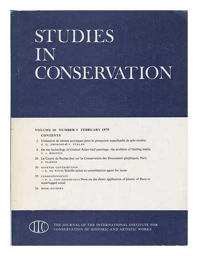 Studies in conservation : the journal of the International Institute for the Conservation of Historic and Artistic Works; Volume 20, Number 4, November 1975