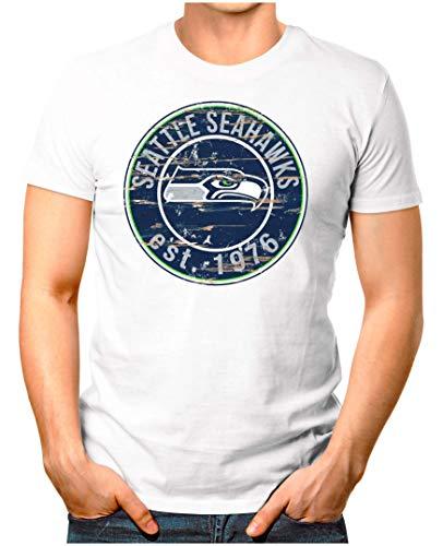 OM3® - Seattle-Badge - T-Shirt   Herren   American Football Shirt   L, Weiß