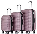 BEIBYE 2088 Zwillingsrollen Reisekoffer Koffer Trolleys Hartschale M-L-XL-Set in 13 Farben (Rosa, Set)