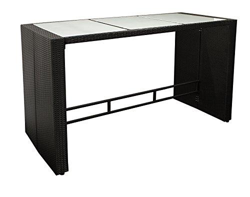DEGAMO Bartisch Davos 185x80cm, Höhe 110cm, Metallgestell + Polyrattan schwarz, Tischplatte Glas