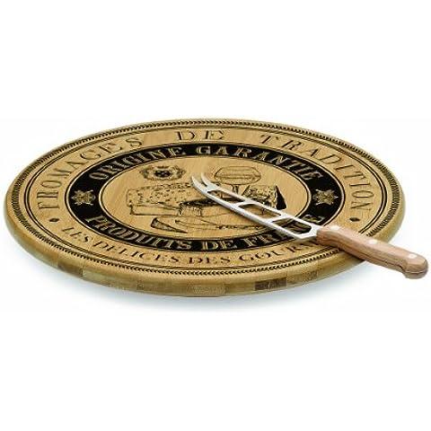 Madera de bambú de la placa giratoria con cuchillo de queso Lazy Susan - caja