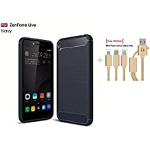 SongNi®+Multifunctional Data Line Ultra Slim Non Slip Cover Scratch Resistant Full Body Protection Premium TPU Phone Cover for Asus ZenFone Live ZB501KL-Navy