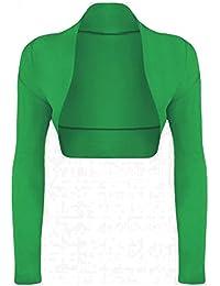 Janisramone nuevas señoras para mujer manga larga Bolero encogimiento de hombros Cardigan Top tamaño 8–22