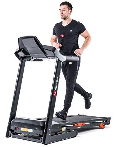 Hop-Sport Laufband HS-1402 elektrisch 2,5 PS, klappbar, Bluetooth 4.0, 15 Trainingsprogramme, LCD-Display, bis 150 kg, inkl. Unterlegmatte