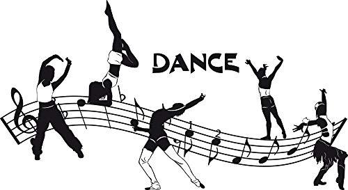 GRAZDesign Kinderzimmer Deko Mädchen Junge Tanzschule - Tanzen Geschenk Tanzen Aufkleber - Wandtattoo Kinderzimmer Mädchen Jungen Dance / 73x40cm / 070 schwarz