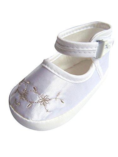 Festlicher Schuh für Taufe oder Hochzeit - Taufschuhe für Baby Babies Mädchen Kinder, TP25 Gr. 18 (Kleid Taufe Seide Taufe)