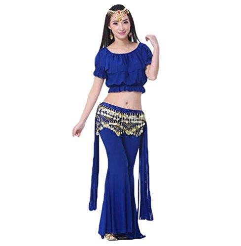 ZhiYuanAN Femmes 3Pcs Vêtements Danse Du Ventre Costume Tribal Tops & Pantalon Tribal & Chaîne à La Taille Saphir