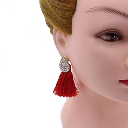 Minshao Mode baumeln Ohr Ohrringe Frauen lange Quaste Fringe Partei Schmuck Geschenk (Rot) (Pferd-ohr-stecker)