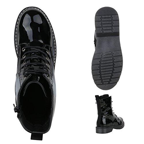 Stiefelparadies Damen Worker Boots Stiefeletten Booties Lack Knöchelhohe Stiefel Boots Schuhe Profilsohle Flandell Schwarz Camiri