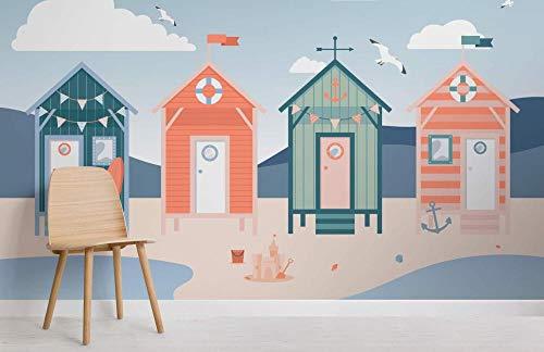 maßgeschneiderte Beach Hut Seaside Wallpaper Wandbild 350×245cm