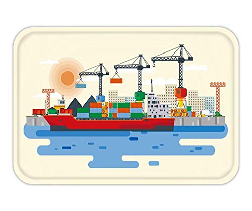 Cargo-chaps (HLKPE Doormat Flat Style Illustration Loading of Cargo Ship in River Port Carriage of Goods by 15.7X23.6 Inches/40X60cm)