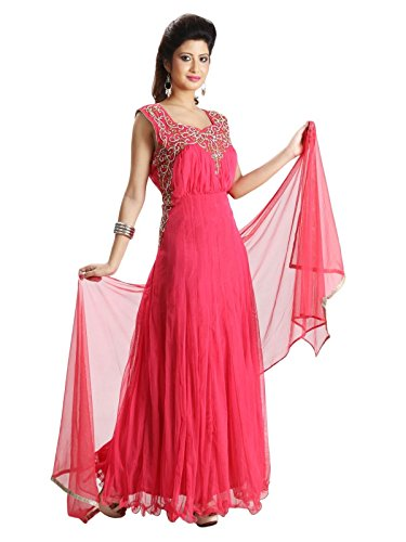 Sharmili Pink Latest Designer Anarkali Embroidered Net Salwar suit for women, Matching Churidar & Dupatta, ( stitched ),L / XL size,Round NeckDaily wear / Party Wear By Zenith Garments  available at amazon for Rs.2395