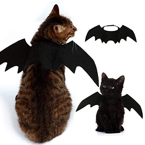 Bat Cat Kostüm - Wenquan,Kostüm Halloween Haustier Fledermausflügel Cat Bat Kostüm(Color:SCHWARZ)