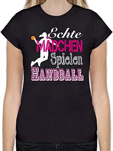 Handball - Echte Mädchen Spielen Handball weiß - S - Schwarz - L191 - Tailliertes Tshirt für Damen und Frauen T-Shirt