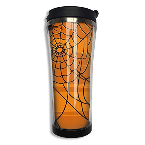 Spider Web Pumpkin Color Stainless Steel Mug Hot Cold Tumbler Silicone Seal Liquid Tight Travel Mug Vacuum Seal Beverage Bottles -420 Ml Men,Women