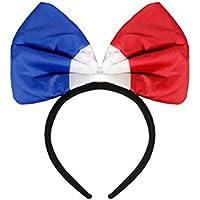 Cerchietto per capelli con papillon nei colori di Francia (00/0985) bandiera francese per tifosi ultra francesi mondiali europei coppa calcio costume carnevale cravatta farfalla France