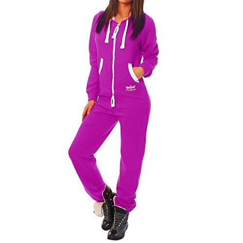 - Finchgirl Damen Jumpsuit Jogging Anzug Trainingsanzug Overall Lila L