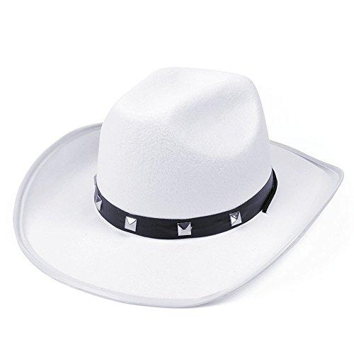 Bristol Novelty bh367C weiß Filz Cowboy Nieten Hat, One ()